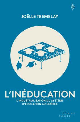 Page couverture sur fond bleu ciel ou bleu vert : au centre, un cercle blanc avec un dessin d'une chaîne industrielle (lire: planche composée de nombreux rouleux) sur laquelle roule des chapeaux de diplômés.